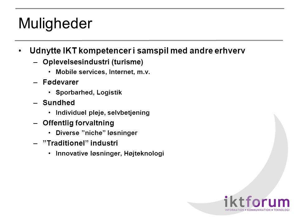 Muligheder •Udnytte IKT kompetencer i samspil med andre erhverv –Oplevelsesindustri (turisme) •Mobile services, Internet, m.v.