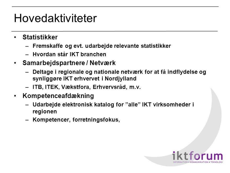 Hovedaktiviteter •Statistikker –Fremskaffe og evt.