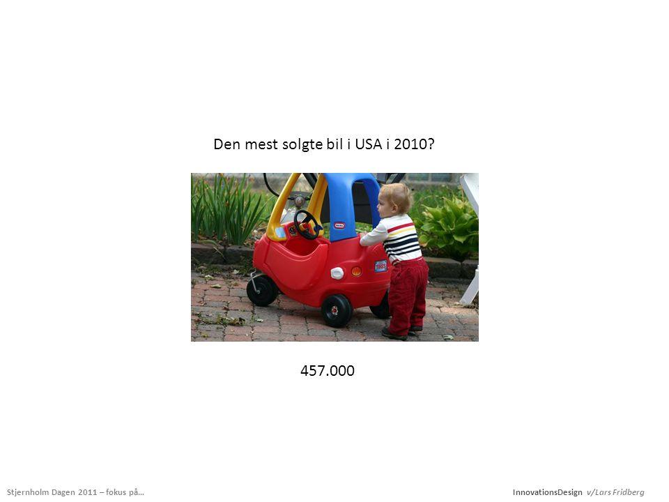 Stjernholm Dagen 2011 – fokus på… InnovationsDesign v/Lars Fridberg Den mest solgte bil i USA i 2010.