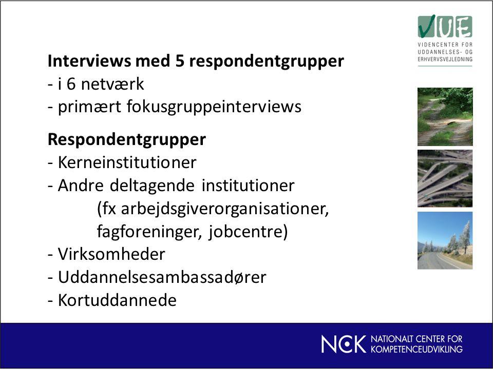 Interviews med 5 respondentgrupper - i 6 netværk - primært fokusgruppeinterviews Respondentgrupper - Kerneinstitutioner - Andre deltagende institutioner (fx arbejdsgiverorganisationer, fagforeninger, jobcentre) - Virksomheder - Uddannelsesambassadører - Kortuddannede
