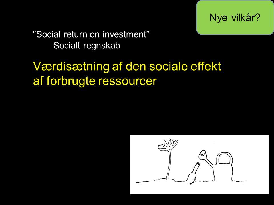 Social return on investment Socialt regnskab Værdisætning af den sociale effekt af forbrugte ressourcer Nye vilkår