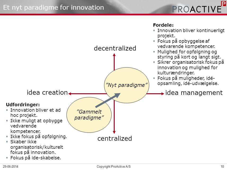 Et nyt paradigme for innovation centralized decentralized idea creation idea management Gammelt paradigme Nyt paradigme Udfordringer:  Innovation bliver et ad hoc projekt.