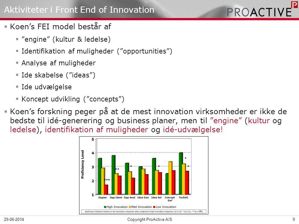 Aktiviteter i Front End of Innovation  Koen's FEI model består af  engine (kultur & ledelse)  Identifikation af muligheder ( opportunities )  Analyse af muligheder  Ide skabelse ( ideas )  Ide udvælgelse  Koncept udvikling ( concepts )  Koen's forskning peger på at de mest innovation virksomheder er ikke de bedste til idé-generering og business planer, men til engine (kultur og ledelse), identifikation af muligheder og idé-udvælgelse.