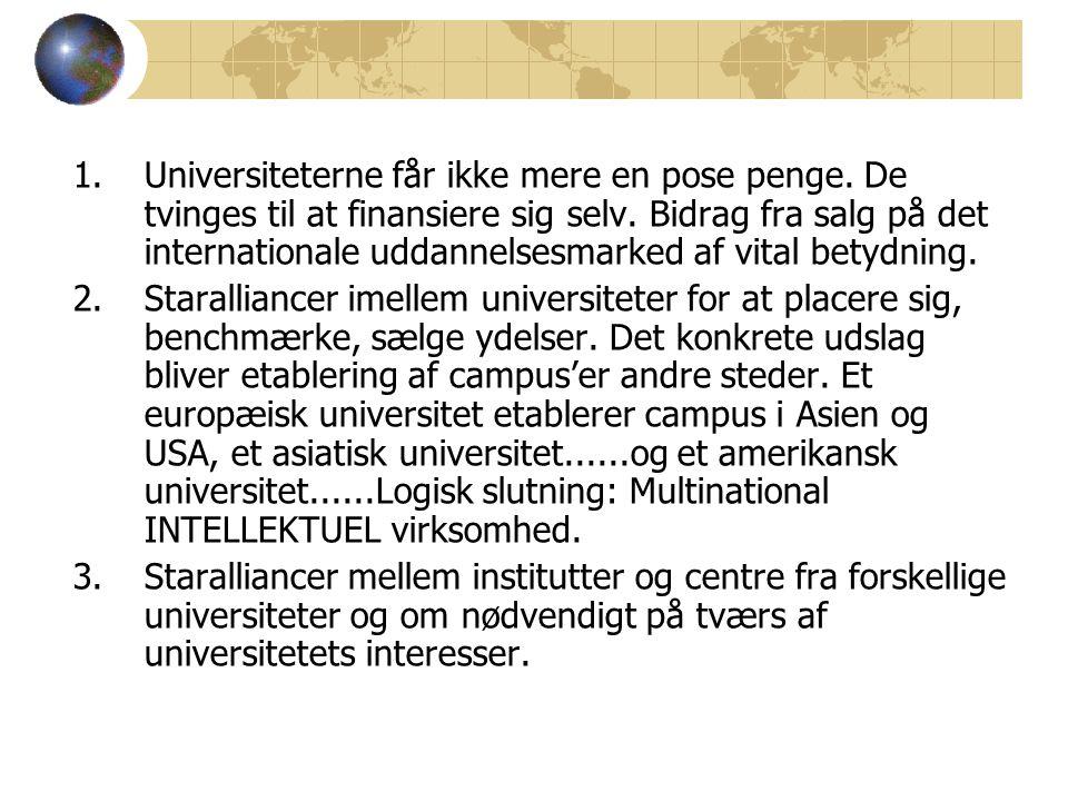 1.Universiteterne får ikke mere en pose penge. De tvinges til at finansiere sig selv.