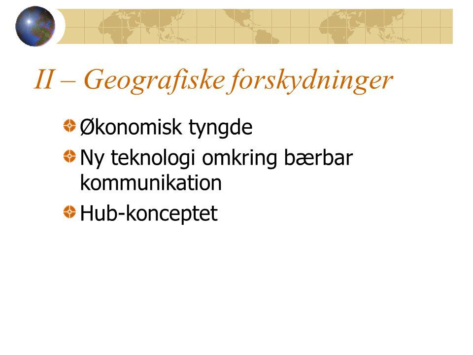 II – Geografiske forskydninger Økonomisk tyngde Ny teknologi omkring bærbar kommunikation Hub-konceptet