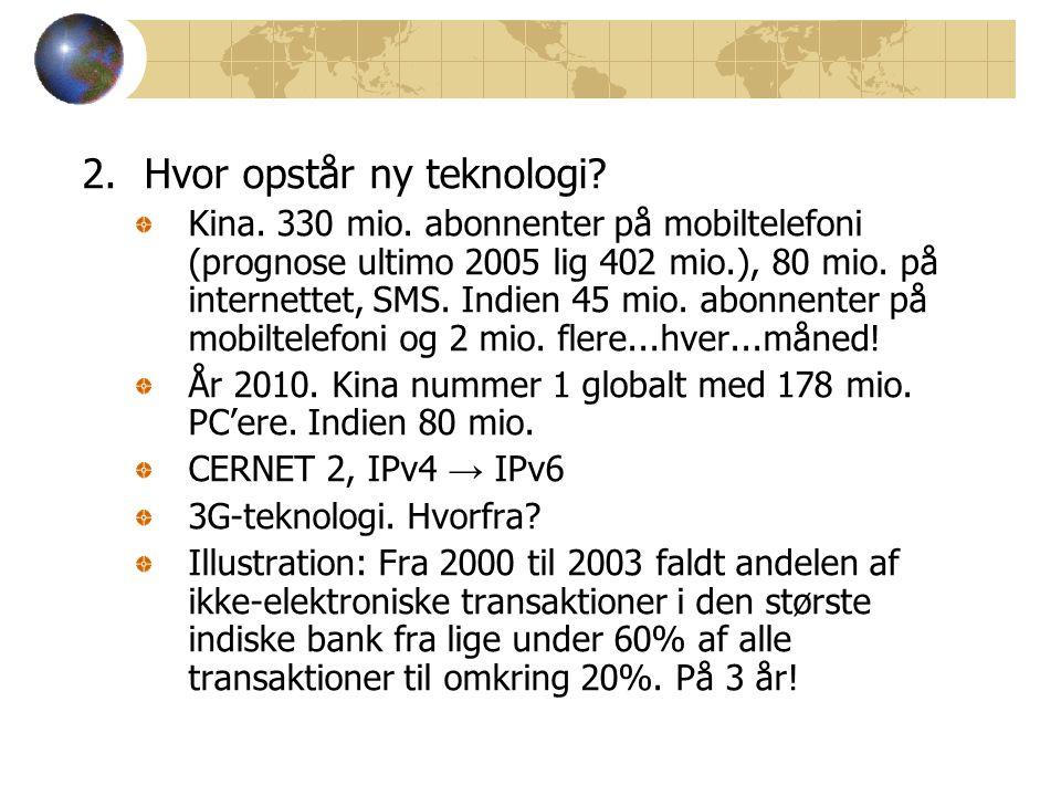 2.Hvor opstår ny teknologi. Kina. 330 mio.