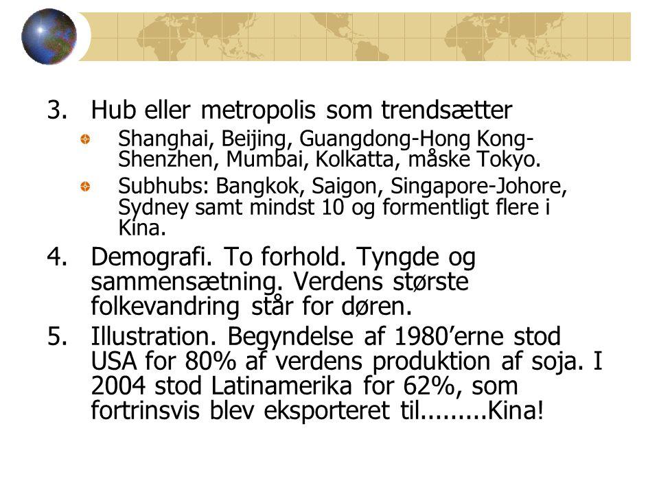 3.Hub eller metropolis som trendsætter Shanghai, Beijing, Guangdong-Hong Kong- Shenzhen, Mumbai, Kolkatta, måske Tokyo.