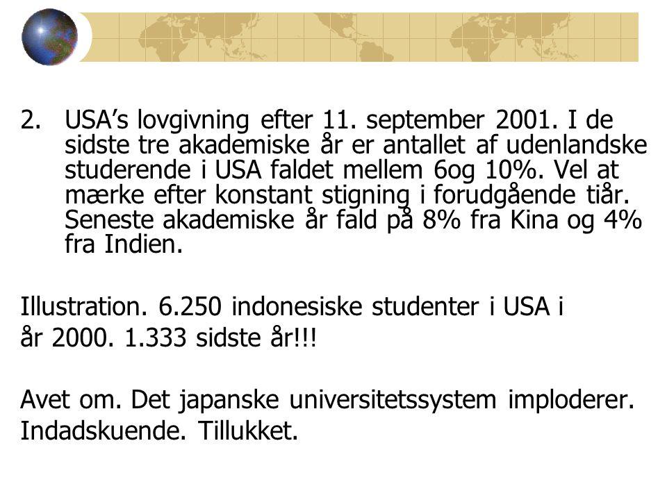2.USA's lovgivning efter 11. september 2001.