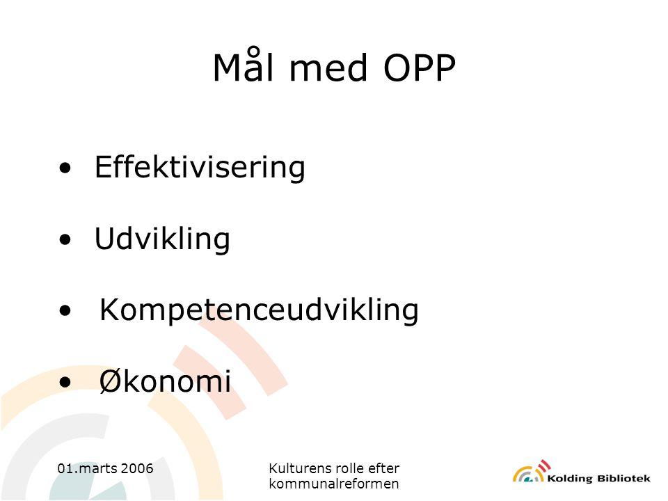 01.marts 2006Kulturens rolle efter kommunalreformen Mål med OPP • Effektivisering • Udvikling •Kompetenceudvikling •Økonomi