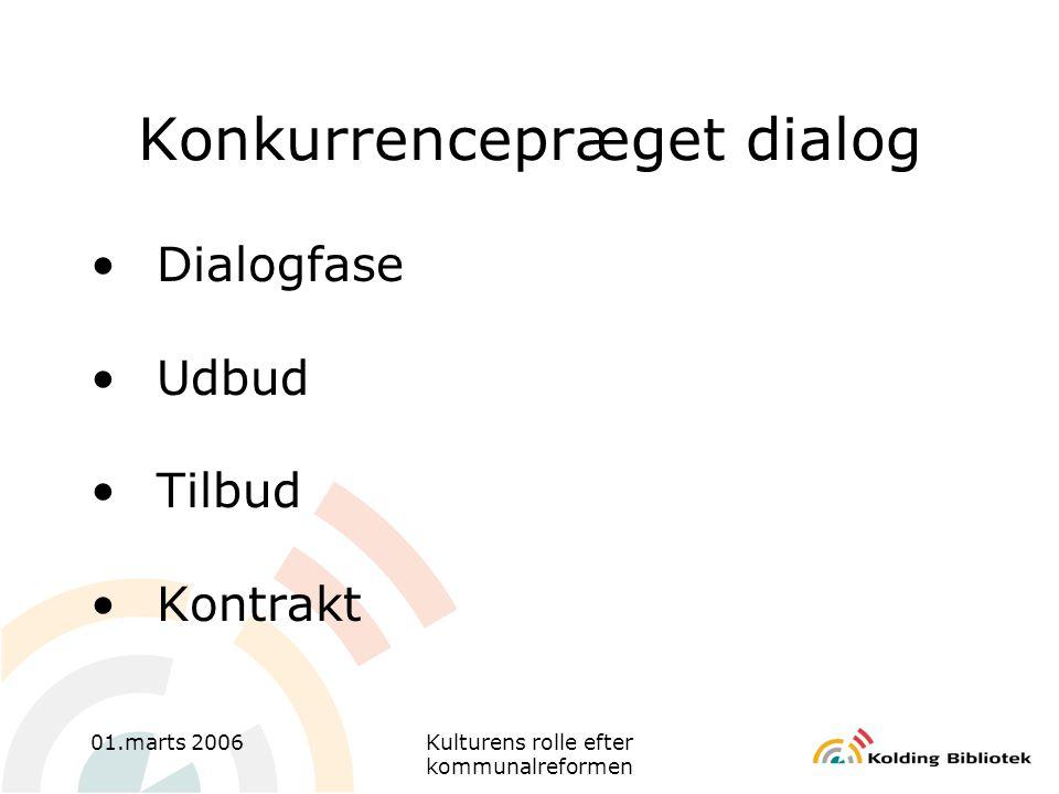 01.marts 2006Kulturens rolle efter kommunalreformen Konkurrencepræget dialog •Dialogfase •Udbud •Tilbud •Kontrakt