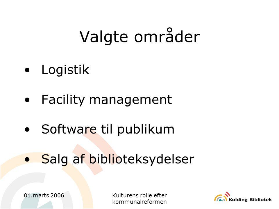 01.marts 2006Kulturens rolle efter kommunalreformen Valgte områder •Logistik •Facility management •Software til publikum •Salg af biblioteksydelser