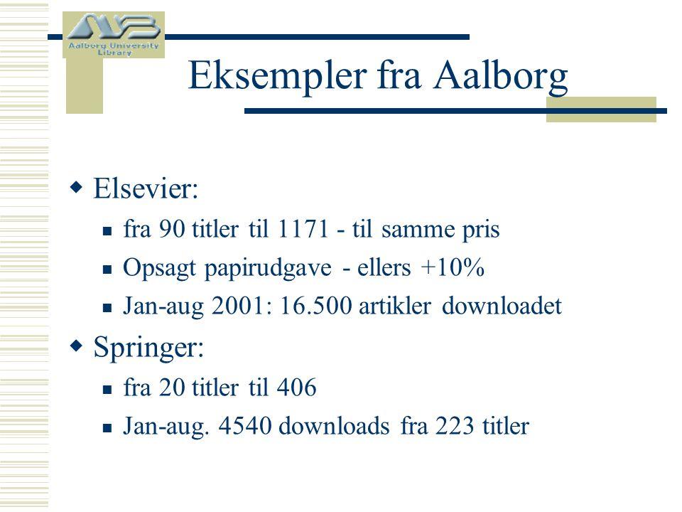 Eksempler fra Aalborg  Elsevier:  fra 90 titler til 1171 - til samme pris  Opsagt papirudgave - ellers +10%  Jan-aug 2001: 16.500 artikler downloadet  Springer:  fra 20 titler til 406  Jan-aug.