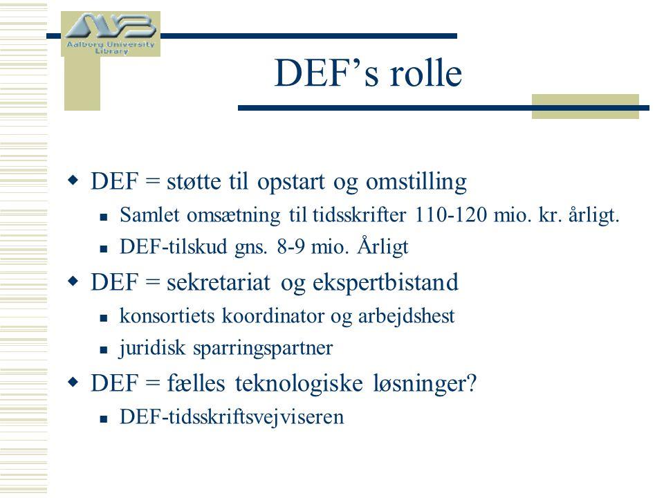 DEF's rolle  DEF = støtte til opstart og omstilling  Samlet omsætning til tidsskrifter 110-120 mio.