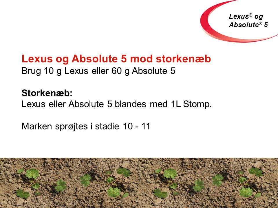 Lexus ® og Absolute ® 5 Lexus og Absolute 5 mod storkenæb Brug 10 g Lexus eller 60 g Absolute 5 Storkenæb: Lexus eller Absolute 5 blandes med 1L Stomp.