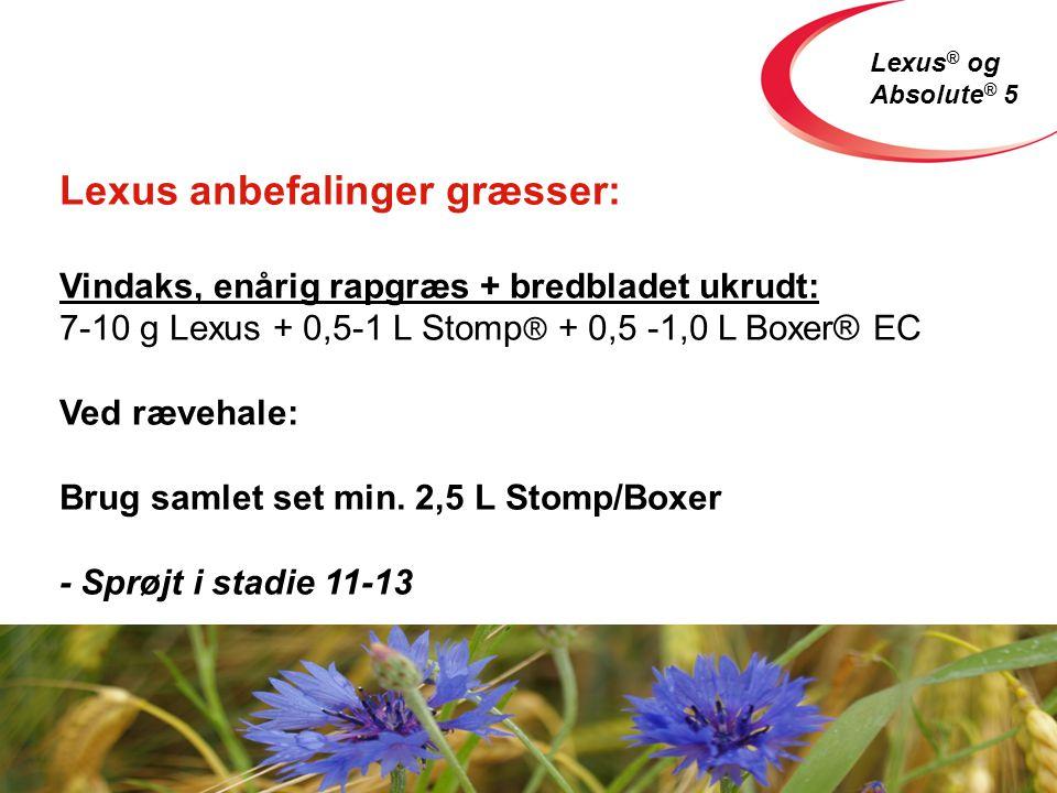 Lexus ® og Absolute ® 5 Lexus anbefalinger græsser: Vindaks, enårig rapgræs + bredbladet ukrudt: 7-10 g Lexus + 0,5-1 L Stomp ® + 0,5 -1,0 L Boxer® EC Ved rævehale: Brug samlet set min.