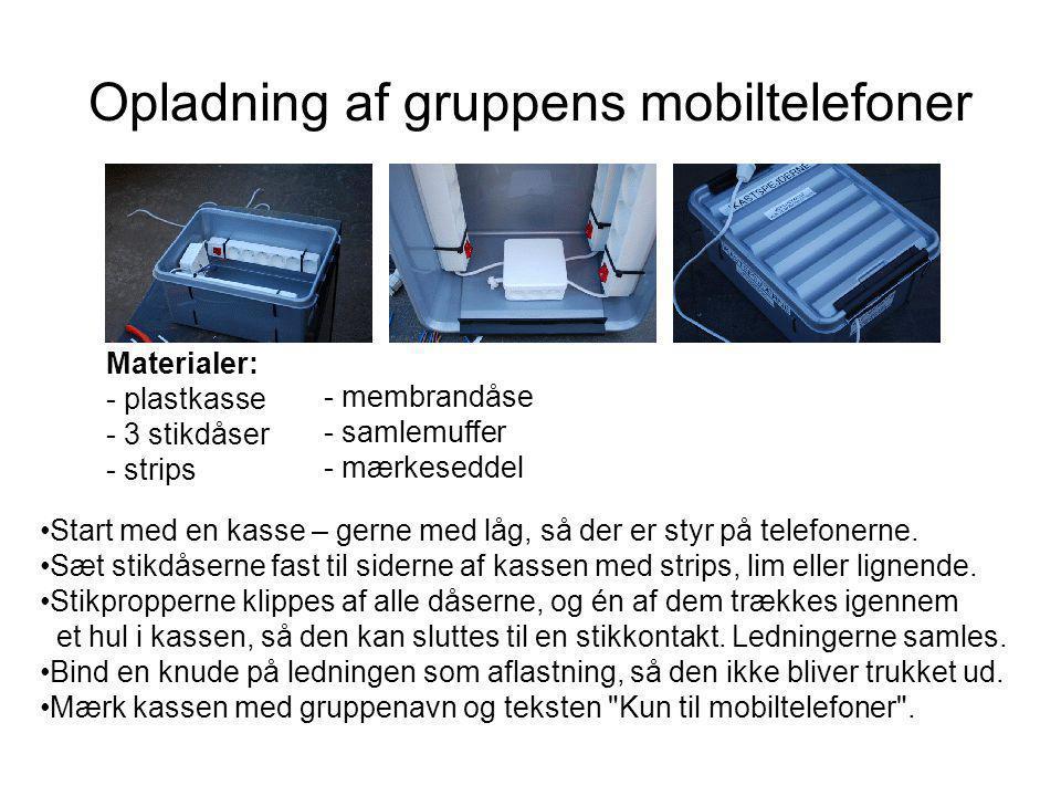 Opladning af gruppens mobiltelefoner •Start med en kasse – gerne med låg, så der er styr på telefonerne.