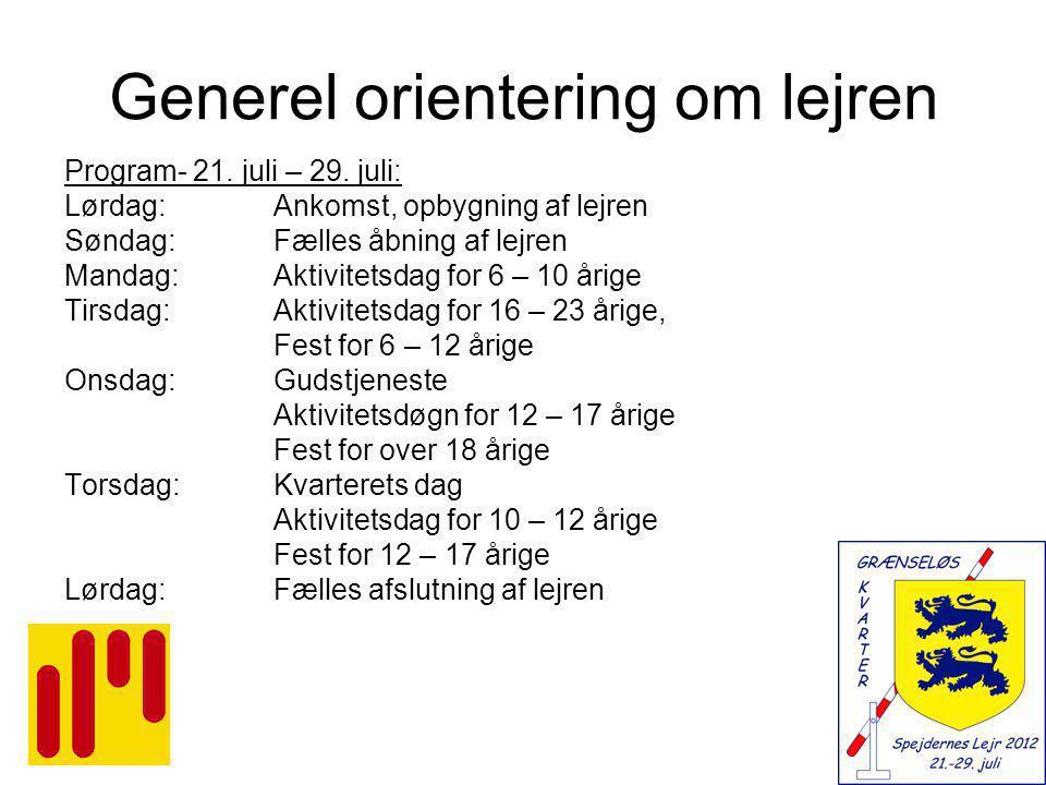 Generel orientering om lejren Program- 21. juli – 29.