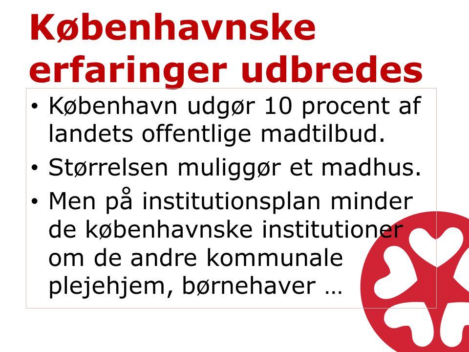 Københavnske erfaringer udbredes • København udgør 10 procent af landets offentlige madtilbud.
