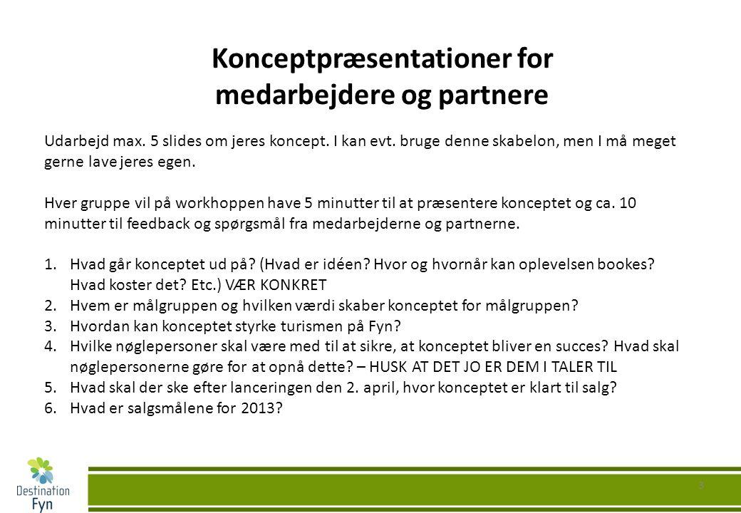 3 Konceptpræsentationer for medarbejdere og partnere Udarbejd max.