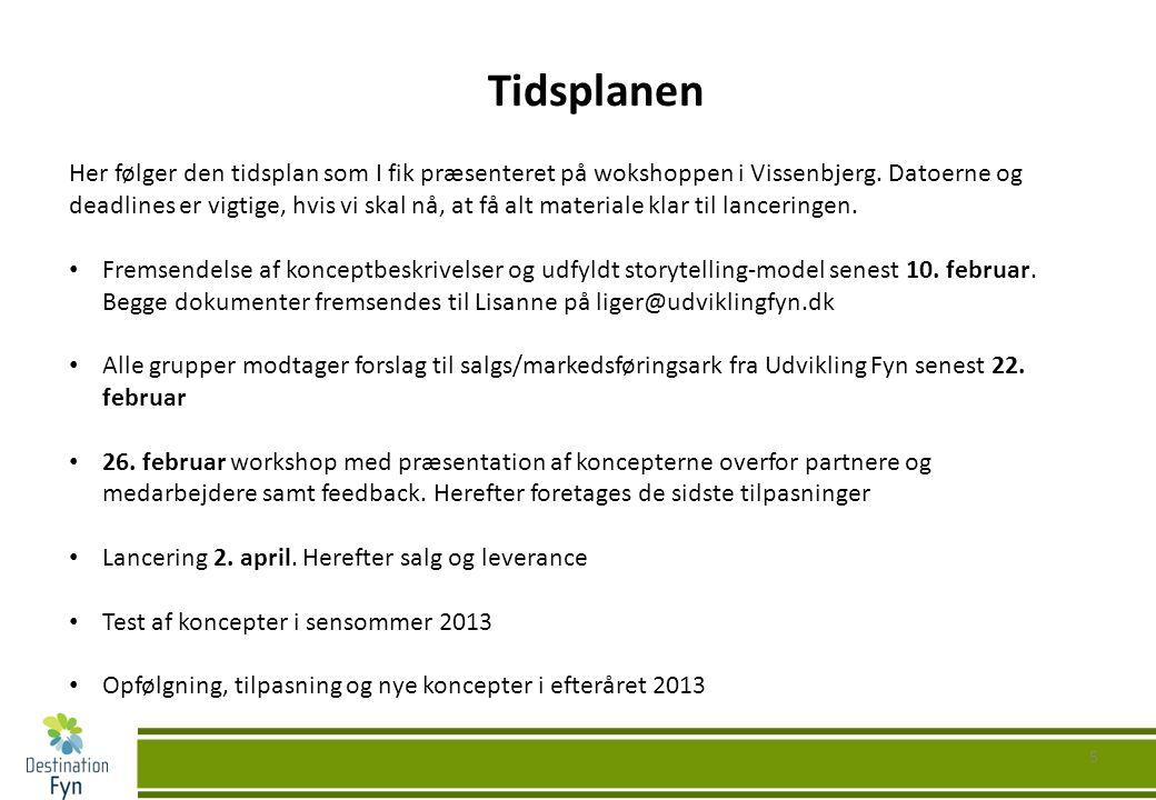 5 Tidsplanen Her følger den tidsplan som I fik præsenteret på wokshoppen i Vissenbjerg.