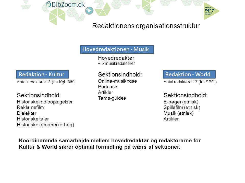 Redaktionens organisationsstruktur Redaktion - WorldRedaktion - Kultur Hovedredaktionen - Musik Antal redaktører: 3 (fra Kgl.