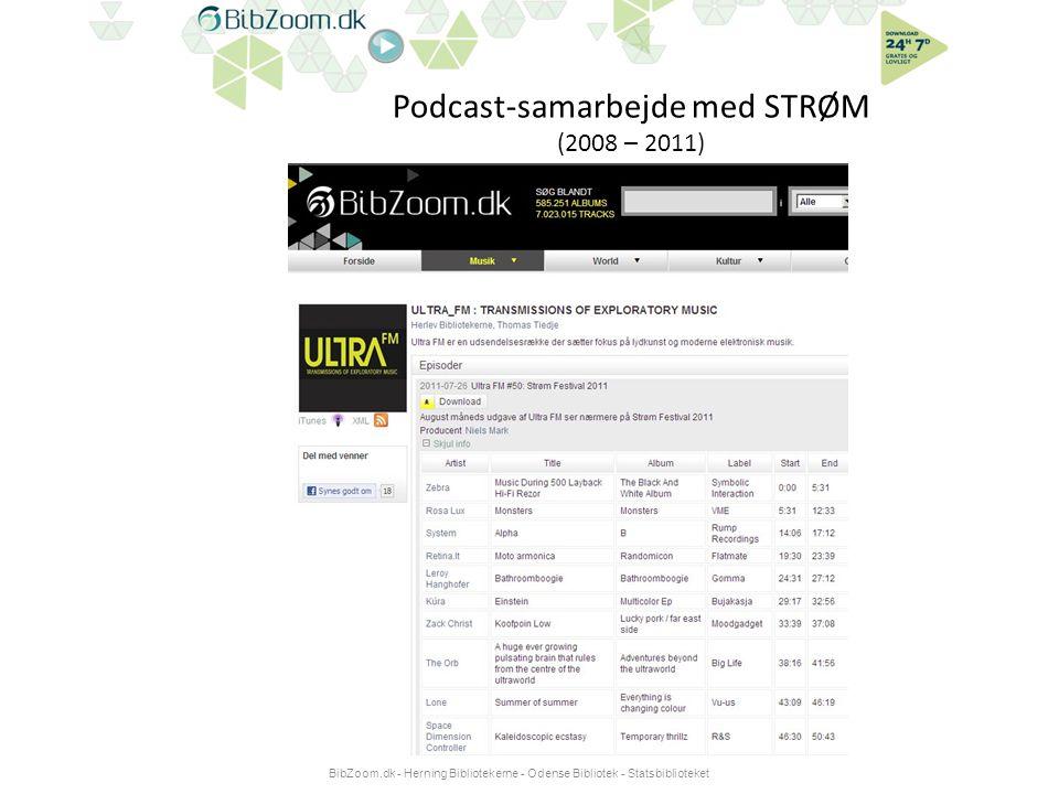 Podcast-samarbejde med STRØM (2008 – 2011) BibZoom.dk - Herning Bibliotekerne - Odense Bibliotek - Statsbiblioteket