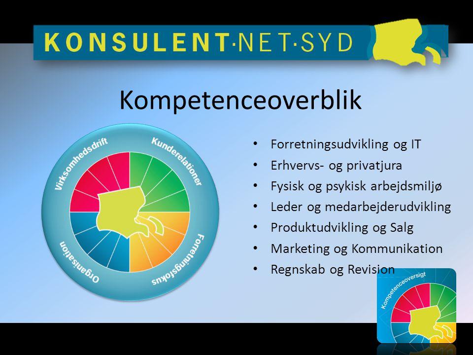 Kompetenceoverblik • Forretningsudvikling og IT • Erhvervs- og privatjura • Fysisk og psykisk arbejdsmiljø • Leder og medarbejderudvikling • Produktudvikling og Salg • Marketing og Kommunikation • Regnskab og Revision