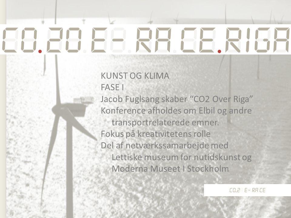 KUNST OG KLIMA FASE I Jacob Fuglsang skaber CO2 Over Riga Konference afholdes om Elbil og andre transportrelaterede emner.