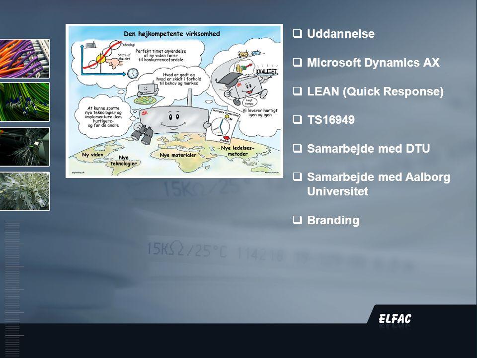 DS/EN ISO9001:2008  Uddannelse  Microsoft Dynamics AX  LEAN (Quick Response)  TS16949  Samarbejde med DTU  Samarbejde med Aalborg Universitet  Branding
