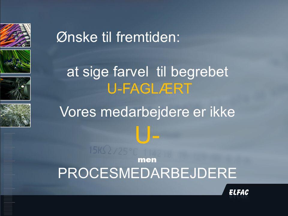 DS/EN ISO9001:2008 Ønske til fremtiden: at sige farvel til begrebet U-FAGLÆRT Vores medarbejdere er ikke U- men PROCESMEDARBEJDERE