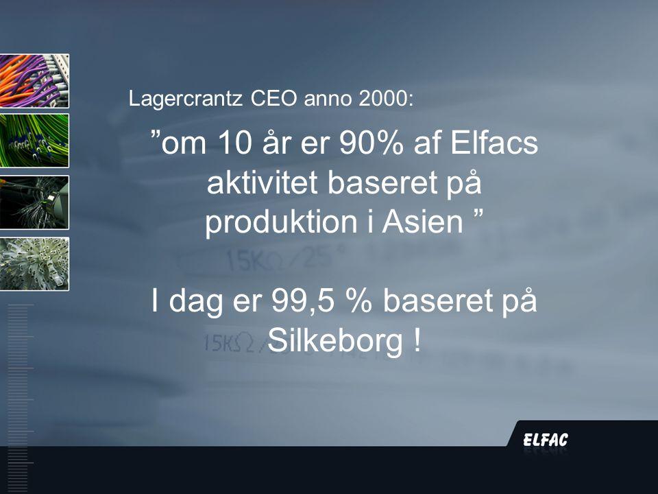 DS/EN ISO9001:2008 Lagercrantz CEO anno 2000: om 10 år er 90% af Elfacs aktivitet baseret på produktion i Asien I dag er 99,5 % baseret på Silkeborg !
