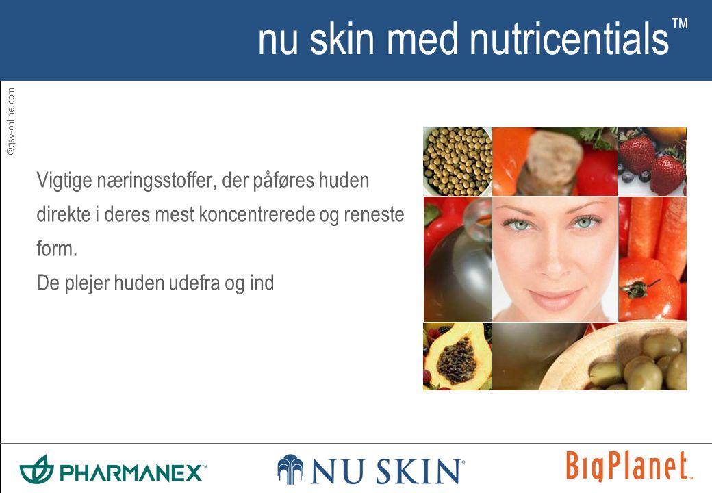 ©gsv-online.com nu skin med nutricentials ™ Vigtige næringsstoffer, der påføres huden direkte i deres mest koncentrerede og reneste form.