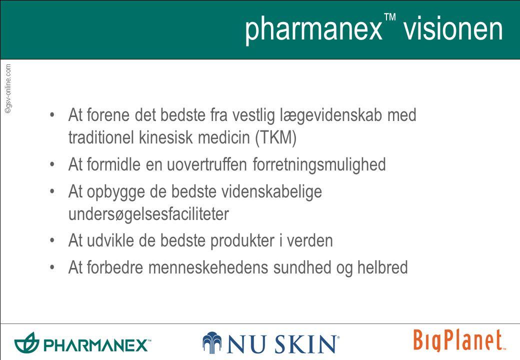 ©gsv-online.com pharmanex ™ visionen •At forene det bedste fra vestlig lægevidenskab med traditionel kinesisk medicin (TKM) •At formidle en uovertruffen forretningsmulighed •At opbygge de bedste videnskabelige undersøgelsesfaciliteter •At udvikle de bedste produkter i verden •At forbedre menneskehedens sundhed og helbred