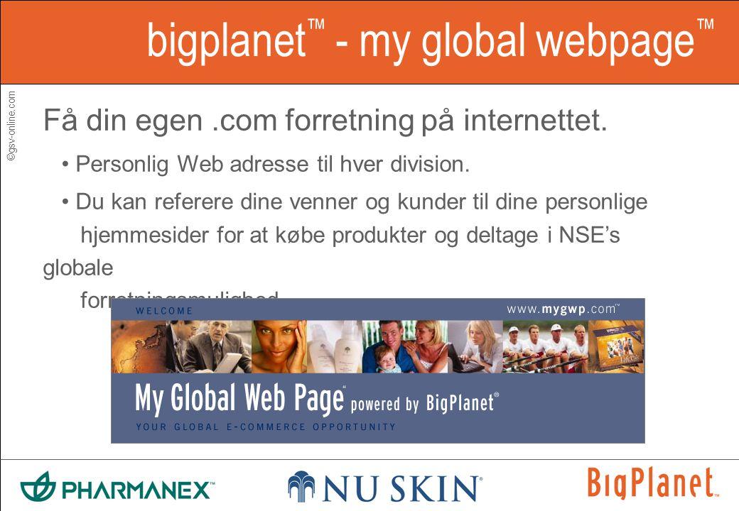 ©gsv-online.com bigplanet ™ - my global webpage ™ Få din egen.com forretning på internettet.