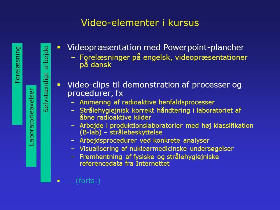 Video-elementer i kursus  Videopræsentation med Powerpoint-plancher –Forelæsninger på engelsk, videopræsentationer på dansk  Video-clips til demonstration af processer og procedurer, fx –Animering af radioaktive henfaldsprocesser –Strålehygiejnisk korrekt håndtering i laboratoriet af åbne radioaktive kilder –Arbejde i produktionslaboratorier med høj klassifikation (B-lab) – strålebeskyttelse –Arbejdsprocedurer ved konkrete analyser –Visualisering af nuklearmedicinske undersøgelser –Fremhentning af fysiske og strålehygiejniske referencedata fra Internettet  … (forts.) Forelæsning Laboratorieøvelser Selvstændigt arbejde