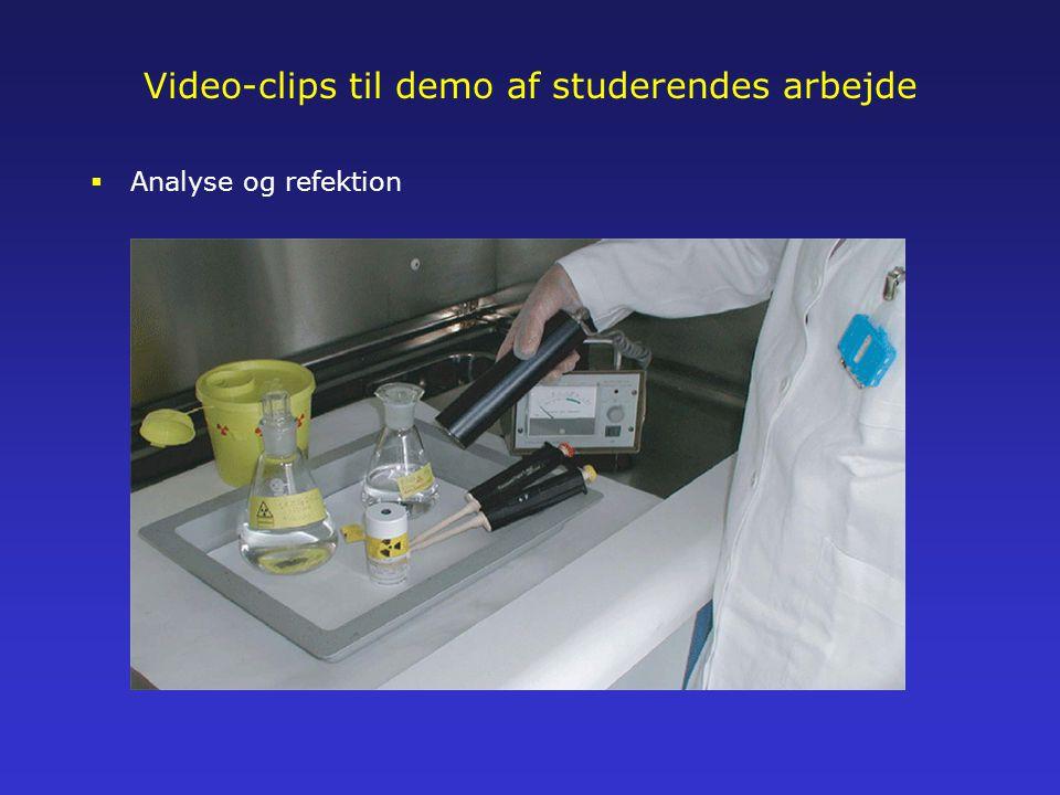 Video-clips til demo af studerendes arbejde  Analyse og refektion