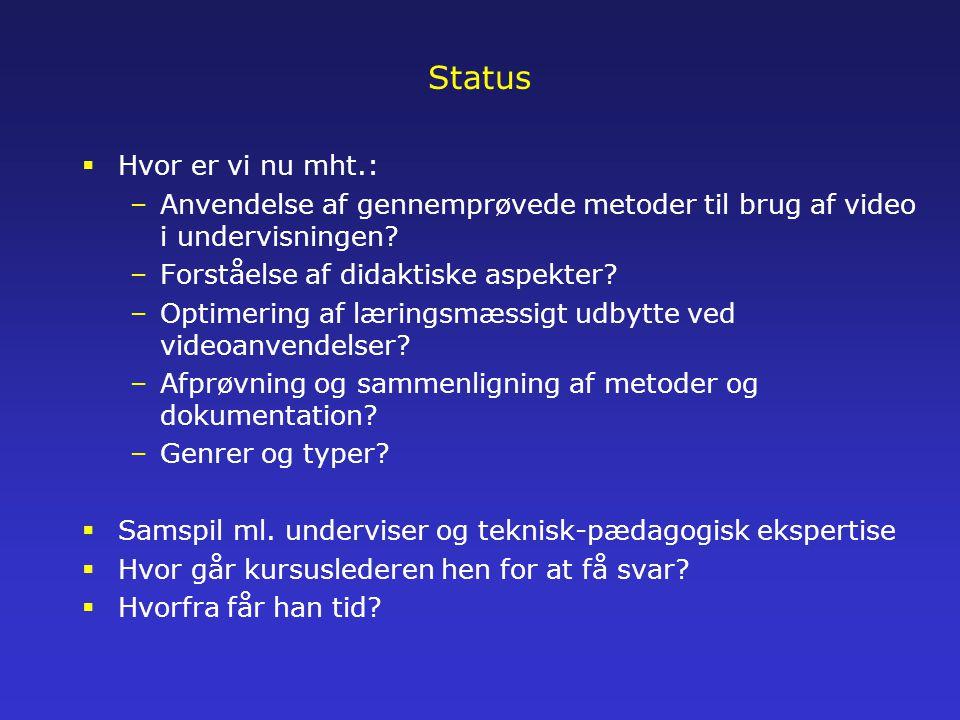 Status  Hvor er vi nu mht.: –Anvendelse af gennemprøvede metoder til brug af video i undervisningen.