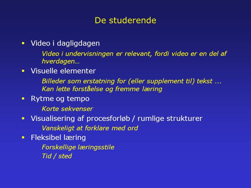 De studerende  Video i dagligdagen Video i undervisningen er relevant, fordi video er en del af hverdagen…  Visuelle elementer Billeder som erstatning for (eller supplement til) tekst...
