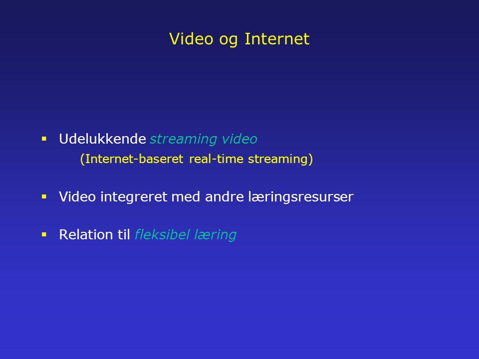 Video og Internet  Udelukkende streaming video (Internet-baseret real-time streaming)  Video integreret med andre læringsresurser  Relation til fleksibel læring