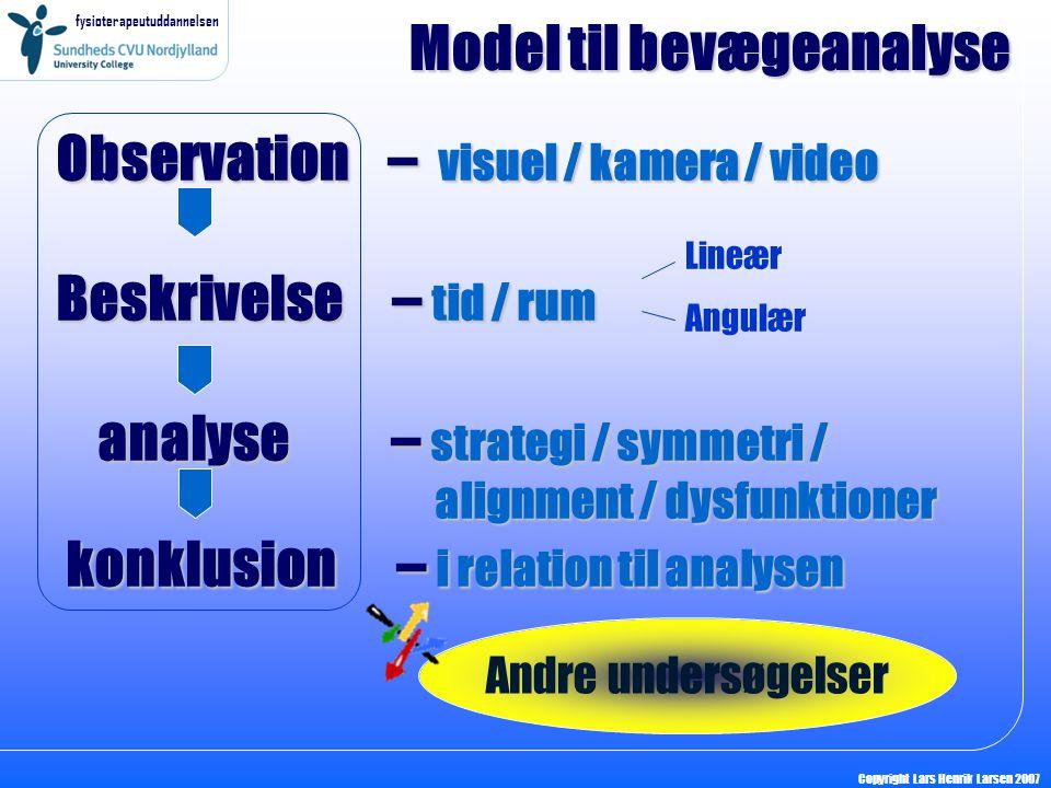 fysioterapeutuddannelsen Copyright Lars Henrik Larsen 2007 Observation – visuel / kamera / video Beskrivelse – tid / rum analyse – strategi / symmetri / alignment / dysfunktioner konklusion – i relation til analysen Model til bevægeanalyse Lineær Angulær Andre undersøgelser