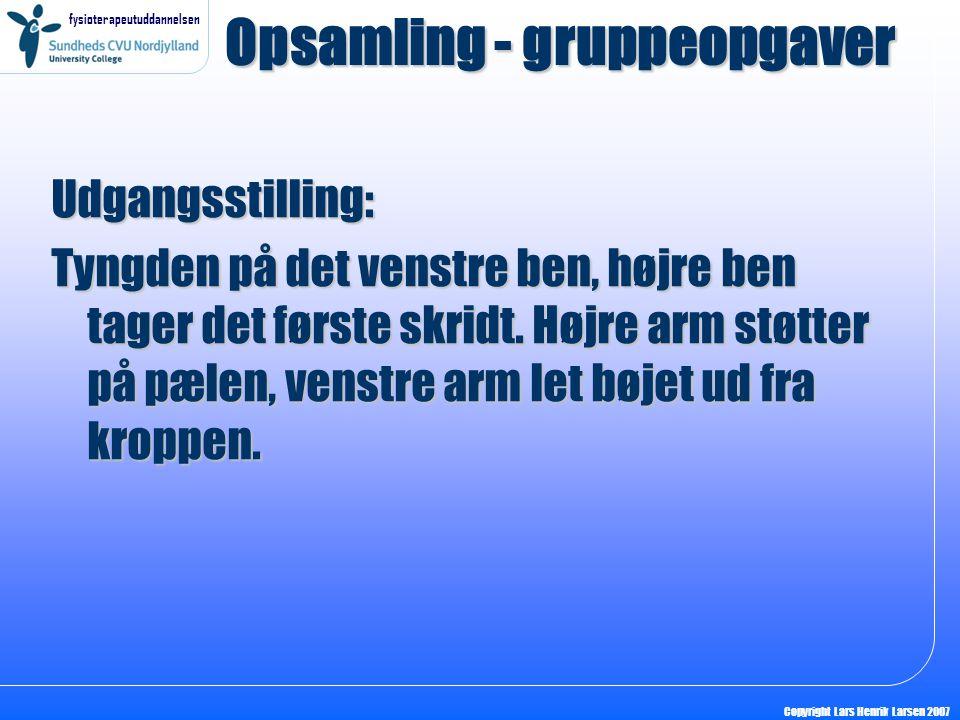 fysioterapeutuddannelsen Copyright Lars Henrik Larsen 2007 Opsamling - gruppeopgaver Udgangsstilling: Tyngden på det venstre ben, højre ben tager det første skridt.