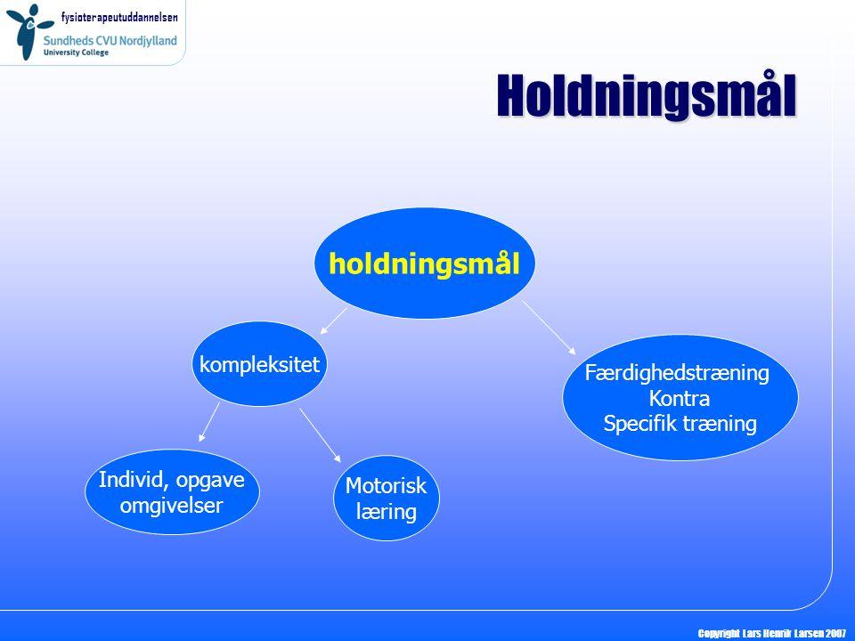 fysioterapeutuddannelsen Copyright Lars Henrik Larsen 2007 Holdningsmål holdningsmål kompleksitet Individ, opgave omgivelser Motorisk læring Færdighedstræning Kontra Specifik træning