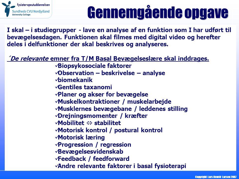 fysioterapeutuddannelsen Copyright Lars Henrik Larsen 2007 Gennemgående opgave I skal – i studiegrupper - lave en analyse af en funktion som I har udført til bevægelsesdagen.