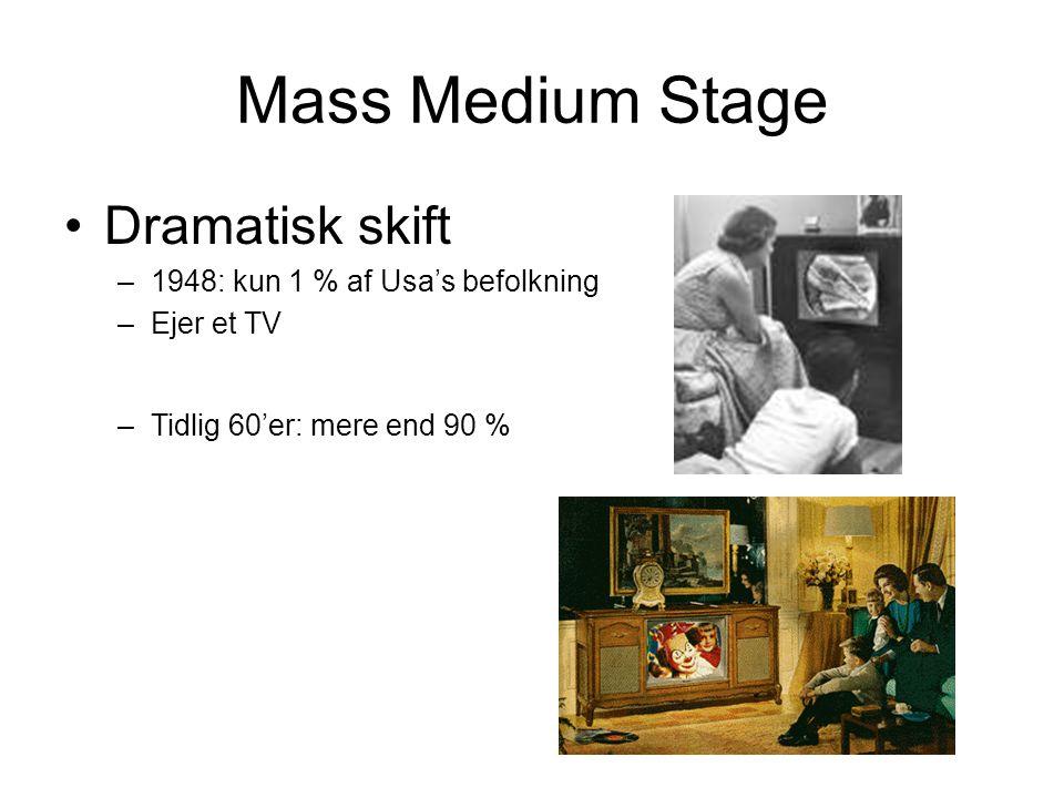 Mass Medium Stage •Dramatisk skift –1948: kun 1 % af Usa's befolkning –Ejer et TV –Tidlig 60'er: mere end 90 %