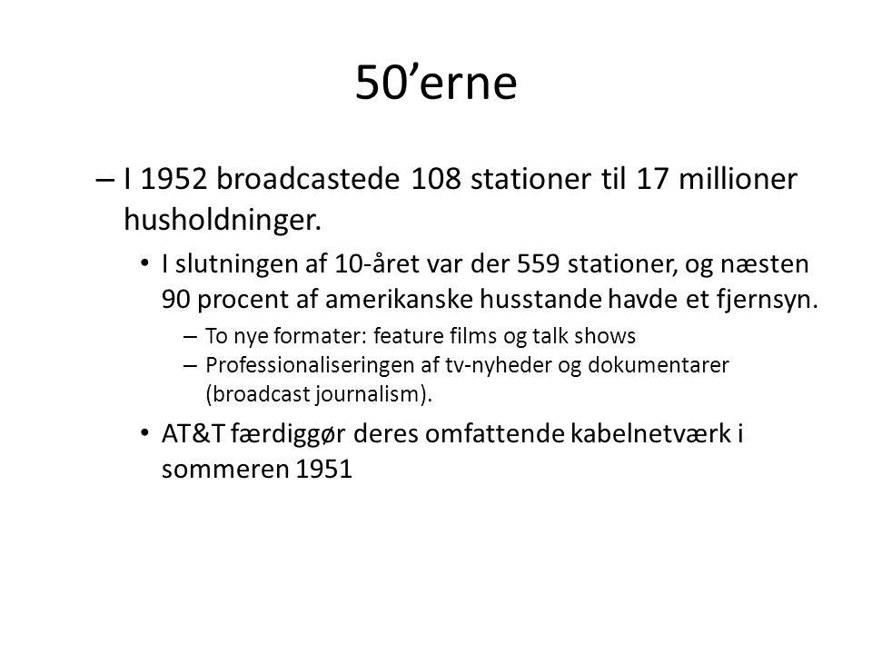 50'erne – I 1952 broadcastede 108 stationer til 17 millioner husholdninger.
