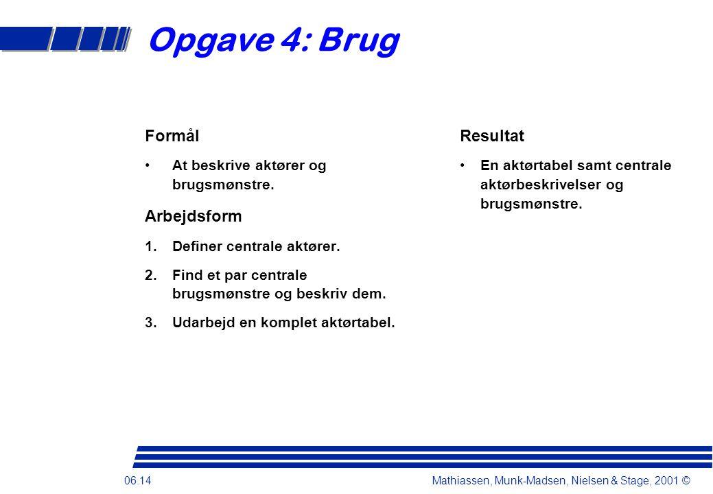 06.14 Mathiassen, Munk-Madsen, Nielsen & Stage, 2001 © Opgave 4: Brug Formål •At beskrive aktører og brugsmønstre.