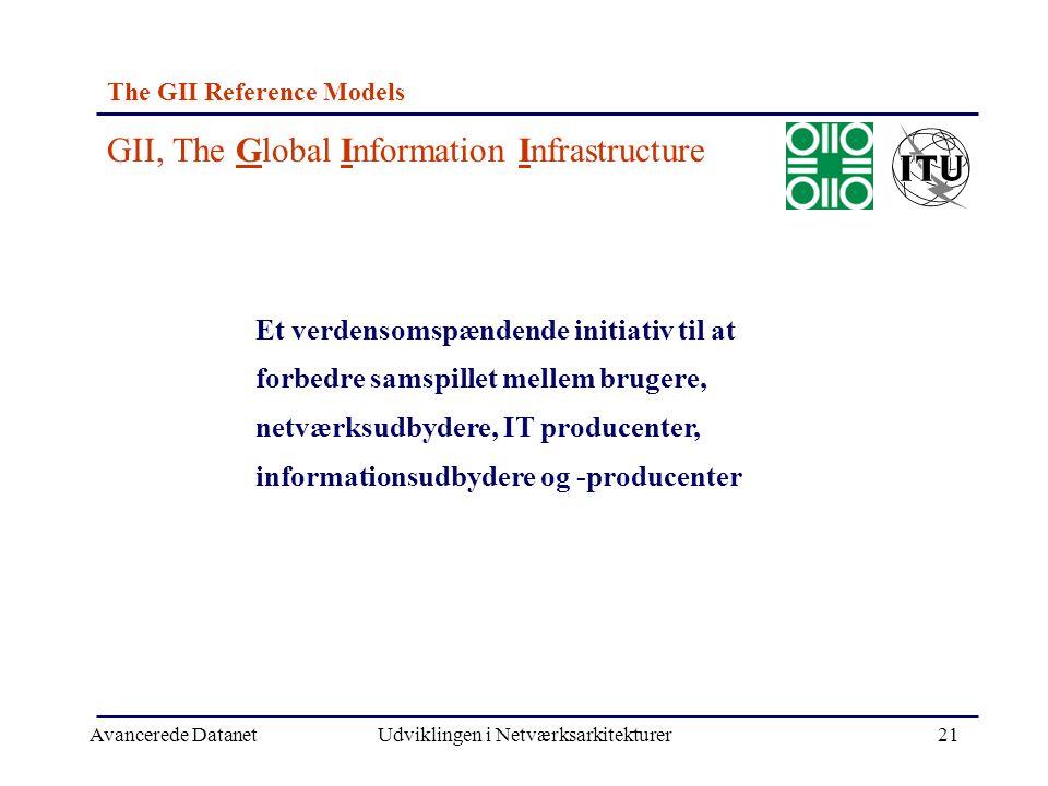 Avancerede DatanetUdviklingen i Netværksarkitekturer21 The GII Reference Models Et verdensomspændende initiativ til at forbedre samspillet mellem brugere, netværksudbydere, IT producenter, informationsudbydere og -producenter GII, The Global Information Infrastructure