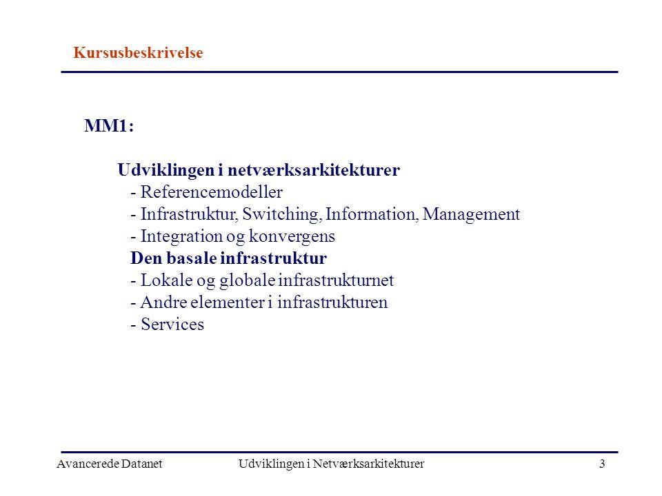 Avancerede DatanetUdviklingen i Netværksarkitekturer3 MM1: Udviklingen i netværksarkitekturer - Referencemodeller - Infrastruktur, Switching, Information, Management - Integration og konvergens Den basale infrastruktur - Lokale og globale infrastrukturnet - Andre elementer i infrastrukturen - Services Kursusbeskrivelse