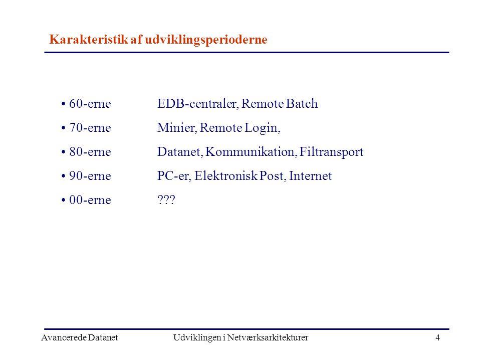 Avancerede DatanetUdviklingen i Netværksarkitekturer4 Karakteristik af udviklingsperioderne • 60-erneEDB-centraler, Remote Batch • 70-erneMinier, Remote Login, • 80-erneDatanet, Kommunikation, Filtransport • 90-ernePC-er, Elektronisk Post, Internet • 00-erne