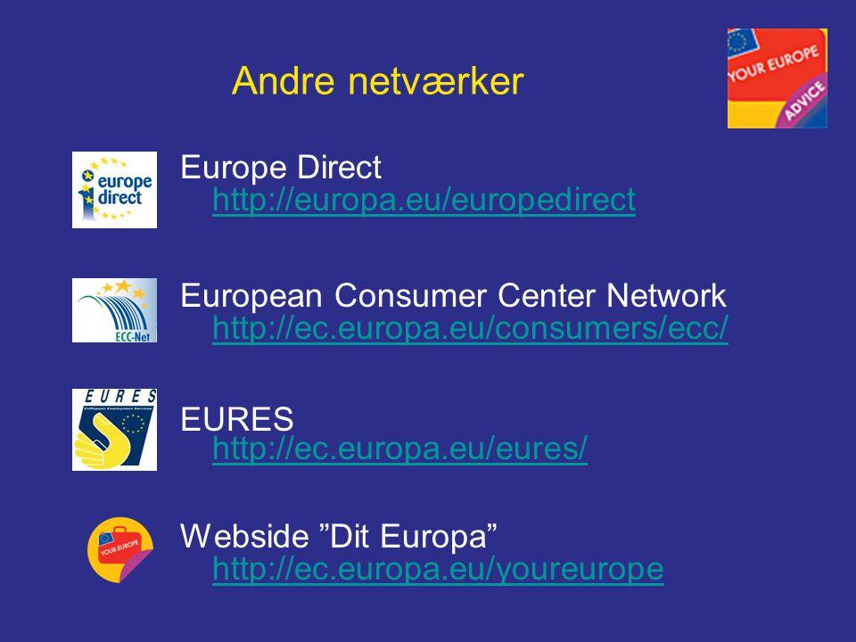 Andre netværker Europe Direct http://europa.eu/europedirect http://europa.eu/europedirect European Consumer Center Network http://ec.europa.eu/consumers/ecc/ EURES http://ec.europa.eu/eures/ http://ec.europa.eu/eures/ Webside Dit Europa http://ec.europa.eu/youreurope